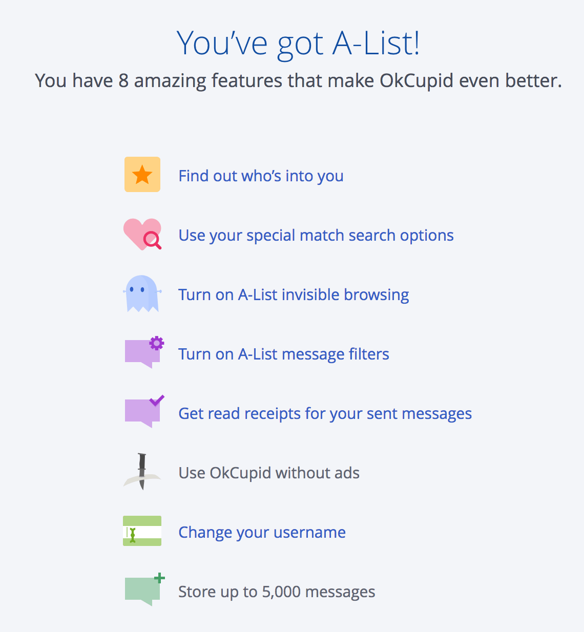Okcupid a list features