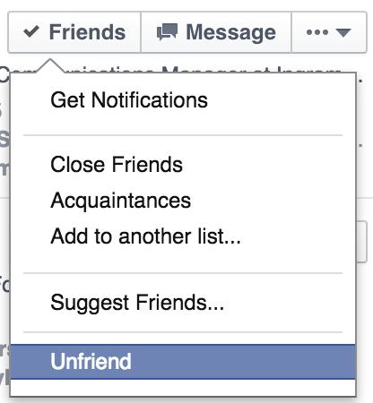 unfriend on facebook
