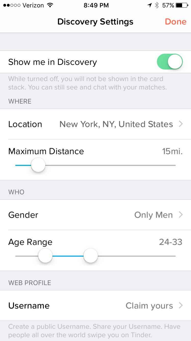 tinder discovery settings